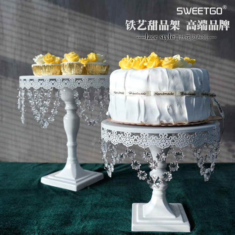 1 Pcs Wedding Decorative Iron Beaded Cake Stand White Color With 10