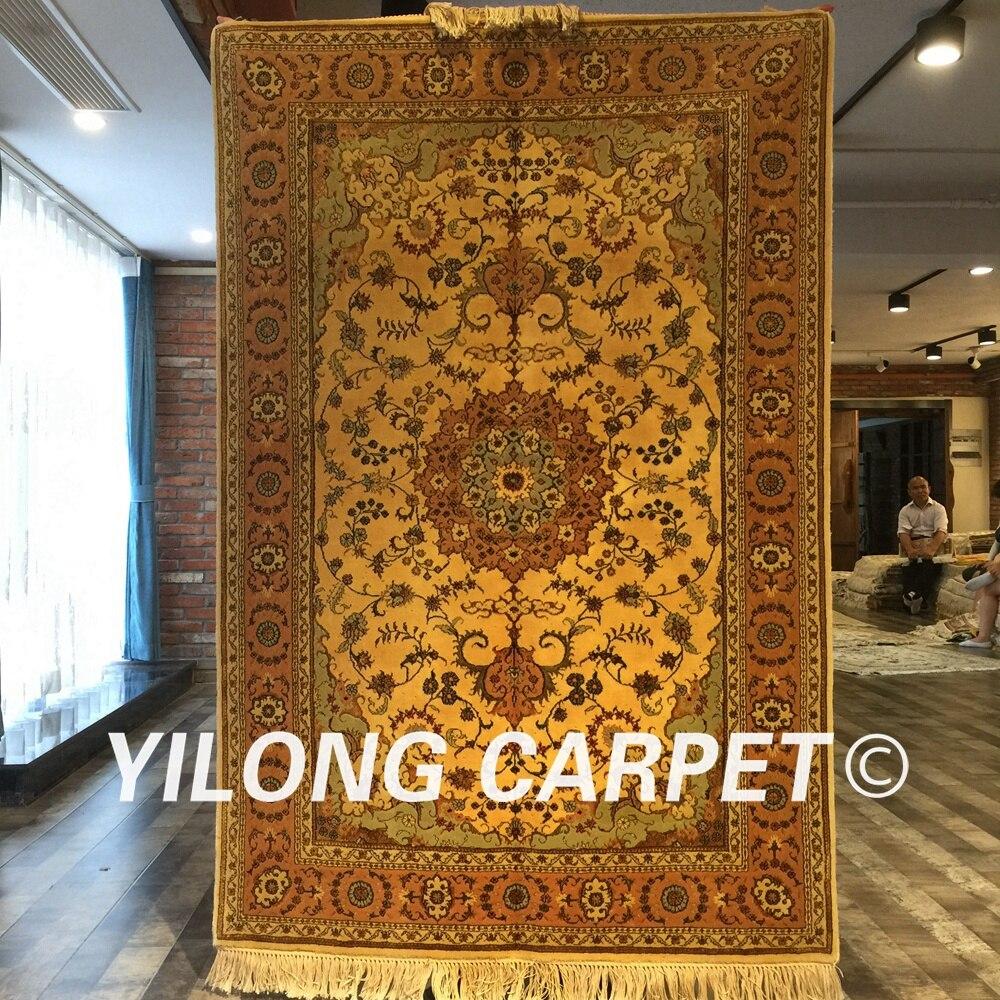 Yilong 4'x6 'fait à la main antique perse laine soie tapis oriental salon décoration jaune laine fait main tapis (WY2094S4x6) - 2