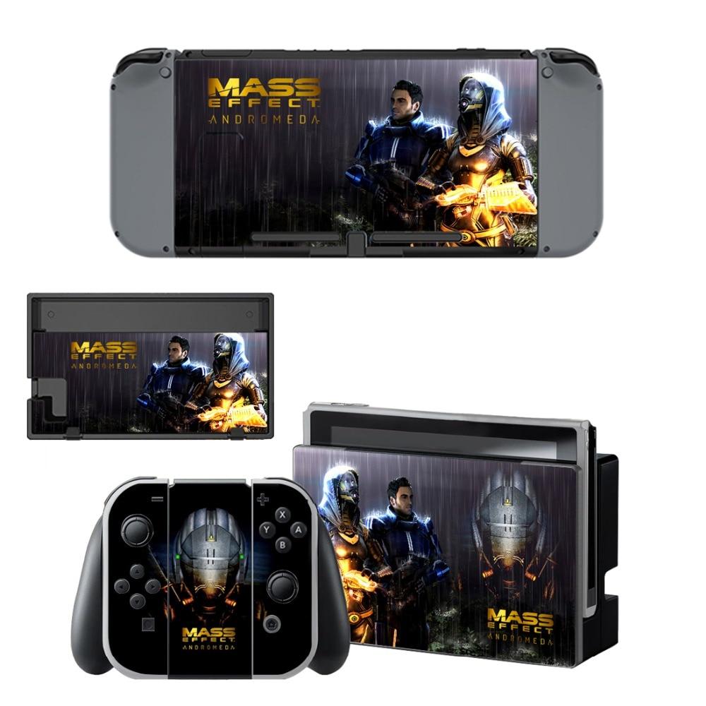 Купить с кэшбэком Mass Effect Andromeda Decal Protector Vinyl Skin Sticker for Nintendo Switch NS Console+Controller+Stand Holder Protective Film