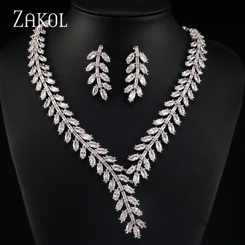 ZAKOL Exclusive White Color Princess Wedding Jewlery Set with AAA Cubic Zircon for Women High Quality