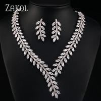 ZAKOL Exclusive! White Color Princess Wedding Jewlery Set with AAA Cubic Zircon for Women High Quality Bridal Jewelry FSSP250
