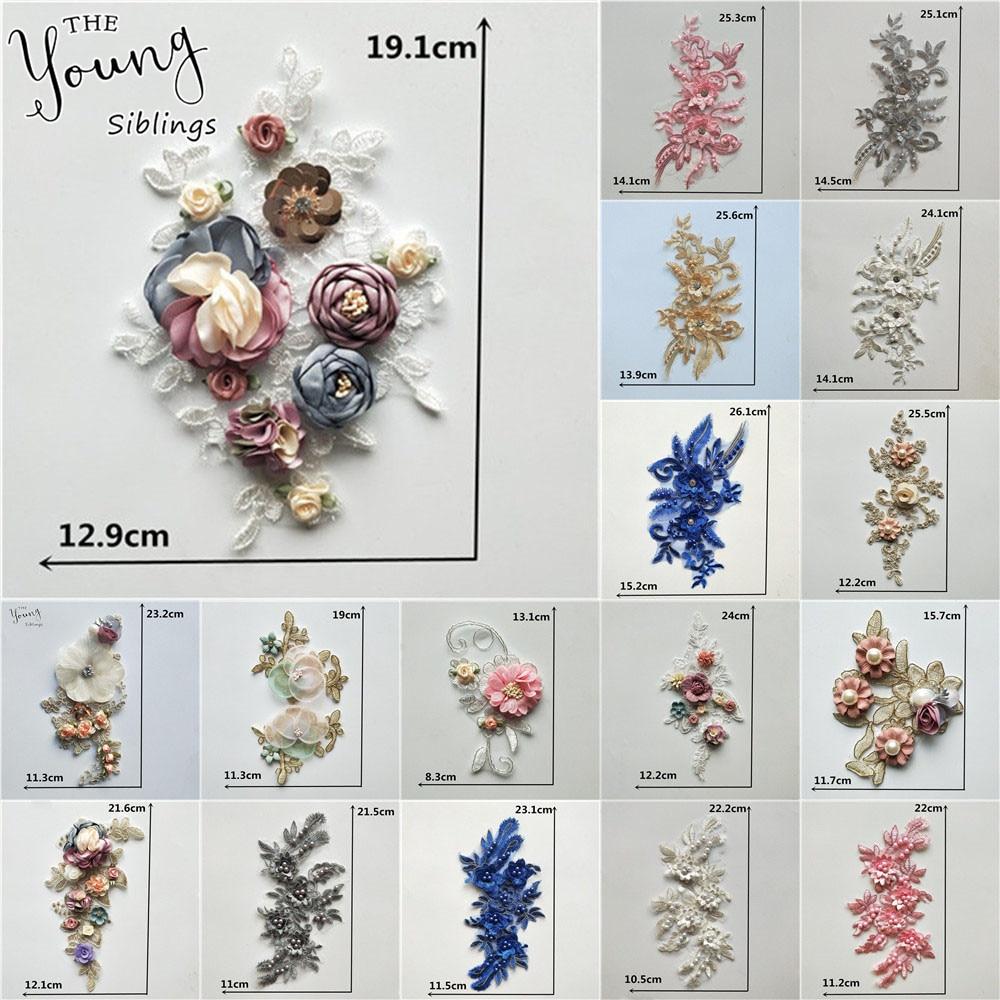 Nouveau style 3D fleur dentelle collier bricolage broderie Applique décolleté couture tissu décoration vêtements accessoires Scrapbooking