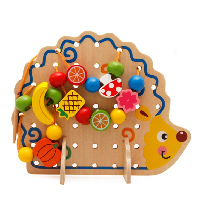 Wooden Learning Education Toys Hedgehog Fruits Creative String Beads Montessori Baby Logic Early Educational Toy For Children baby wooden toys multifunctional learning cube puzzle round beads abacus frame baby educational toys for children