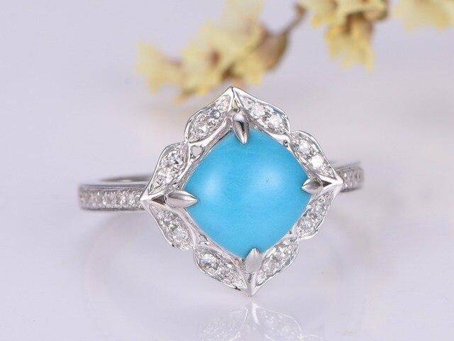 Myray Turquoise Engagement Ring 8x8mm Cushion Cut Stone 14k Gold Diamond Band Bridal Wedding
