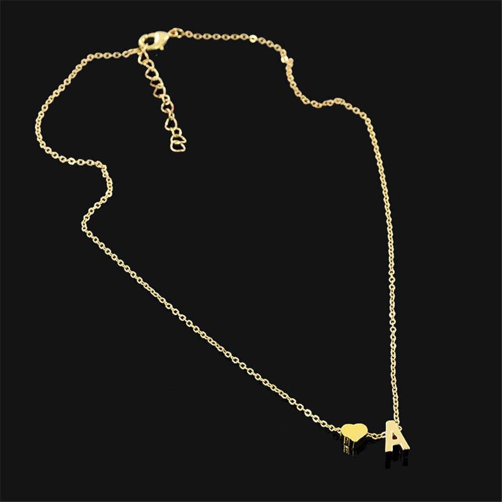 Colar tiny dainty coração inicial colar personalizado carta colar nome jóias para acessórios femininos presente namorada #7