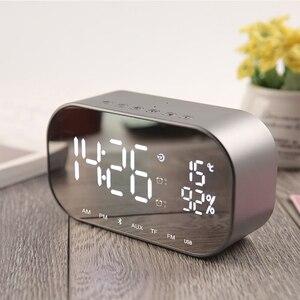 Image 2 - LED ساعة تنبيه مع راديو FM سماعة لاسلكية تعمل بالبلوتوث المتكلم دعم Aux TF USB الموسيقى لاعب ل مكتب غرفة نوم