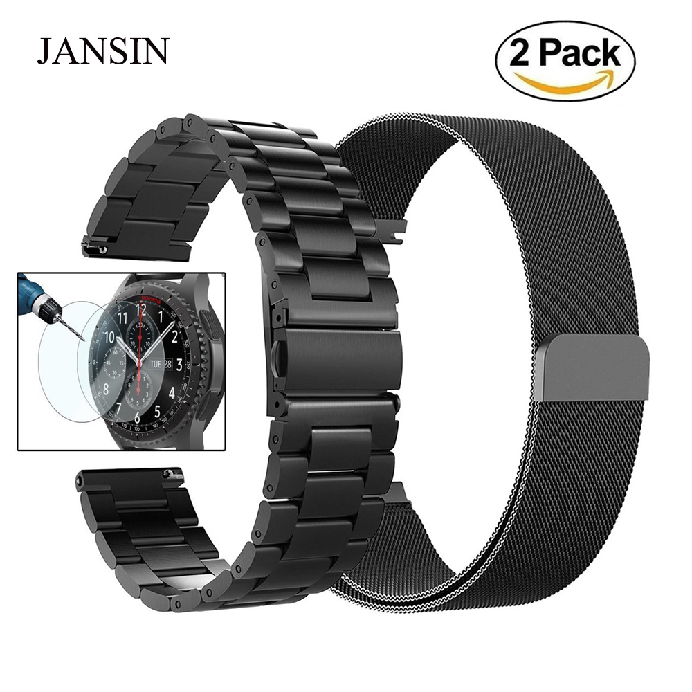 JANSIN 22mm Universal Stainless Steel Replacement strap for Samsung Gear S3 Classic/S3 Frontier band with Screen protection film jansin 22mm watchband for garmin fenix 5 easy fit silicone replacement band sports silicone wristband for forerunner 935 gps