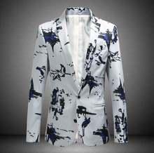 Мужской пиджак на одной пуговице с цветочным принтом