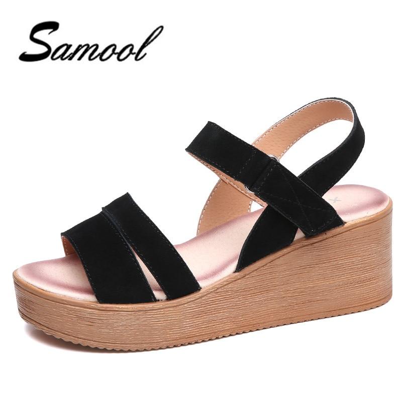 샌들 여성 여름 스웨이드 가죽 버클 샌들 신발 여성 - 여성 신발