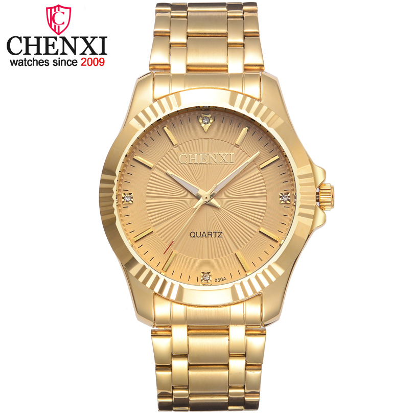 CHENXI Marke Klassischen Zarten Strass Paar Liebhaber Uhren Mode Luxus Gold Edelstahl Männer & Frauen Uhr Orologi Coppia