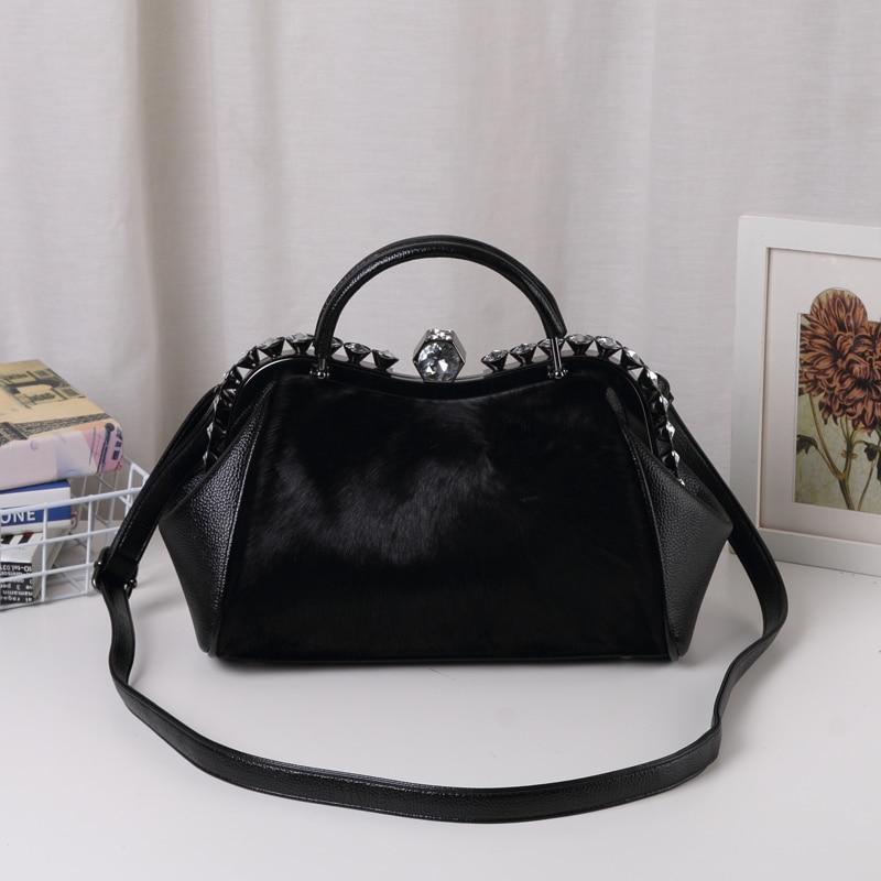 New Designer Handbags High Qualit Luxury Bags for women 2017 Horse hair bag With Diamonds Women shoulder crossbody bags