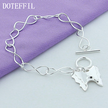 Wholesale 925 Sterling Silver Jewelry Charm Bracelet Two Butterflies Woman Woman Fashion Jewelry Silver Bracelet B136 beautiful fashion free shipping silver 925 charm bracelet gorgeous jewelry silver 925 pole chain bracelet