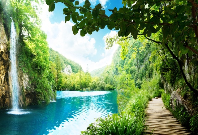 spring backgrounds waterfall river mountain backdrops background pathway studio vinyl laeacco photographic customized zoom mouse