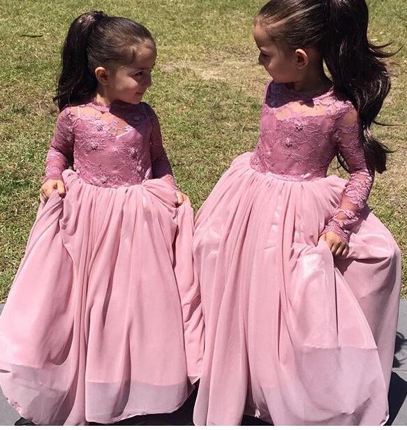 Pink 2018 Flower Girl Dresses For Weddings Ball Gown Long Sleeves