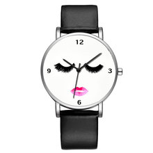 BAOSAILI Top Brand Fancy Women Dress Popular Black Watch Blank Clock Face Sexy Lip Mouth Female Wrist Watches For Lady Bs9052