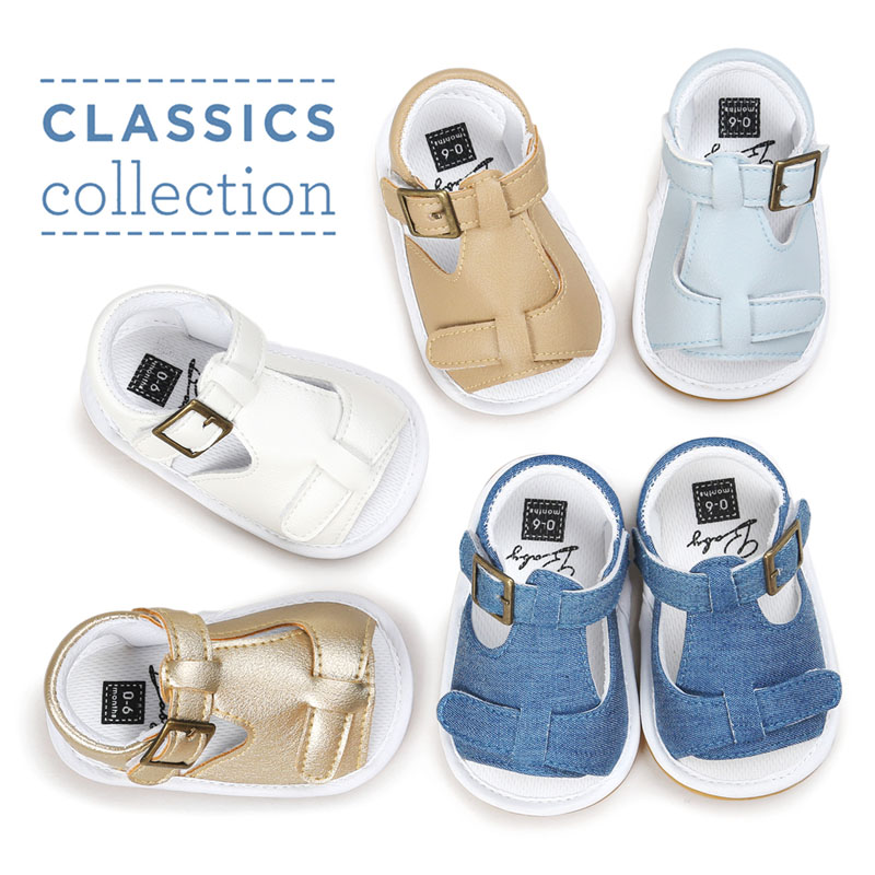 2018 New Spring Solid Cute hard rubber Baby moccasins child Summer boys sandals pu leather Infant Fabric shoes baby sandals