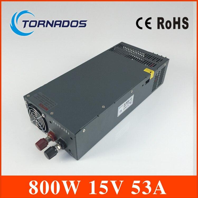 Светодиодный драйвер 800 Вт 15 В 53a вход переменного тока 110 В/220 В к DC 15 В один Выход переключение блок питания для Светодиодные ленты свет s 800 15