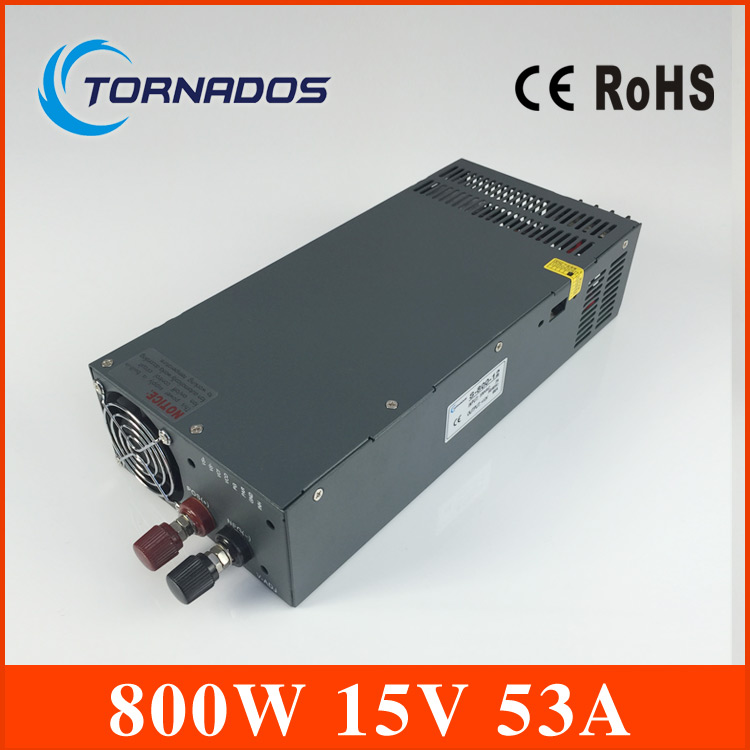 Led driver 800W 15V 53A input ac 110v/220v to dc 15v Single Output Switching power supply unit for LED Strip light S-800-15 1200w 12v 100a adjustable 220v input single output switching power supply for led strip light ac to dc
