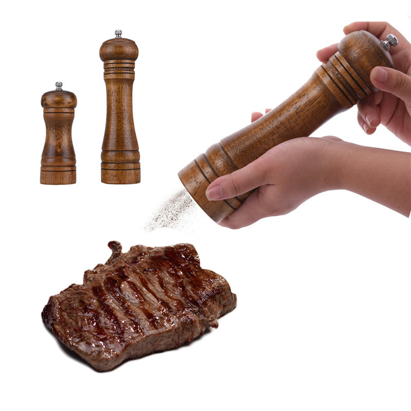 Molinillos de sal y pimienta de madera Molinillo de madera de roble - Cocina, comedor y bar