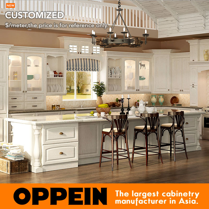 Red Oak Cabinets Kitchen: OPPEIN Customized Traditional Red Oak Wood Kitchen Cabinet