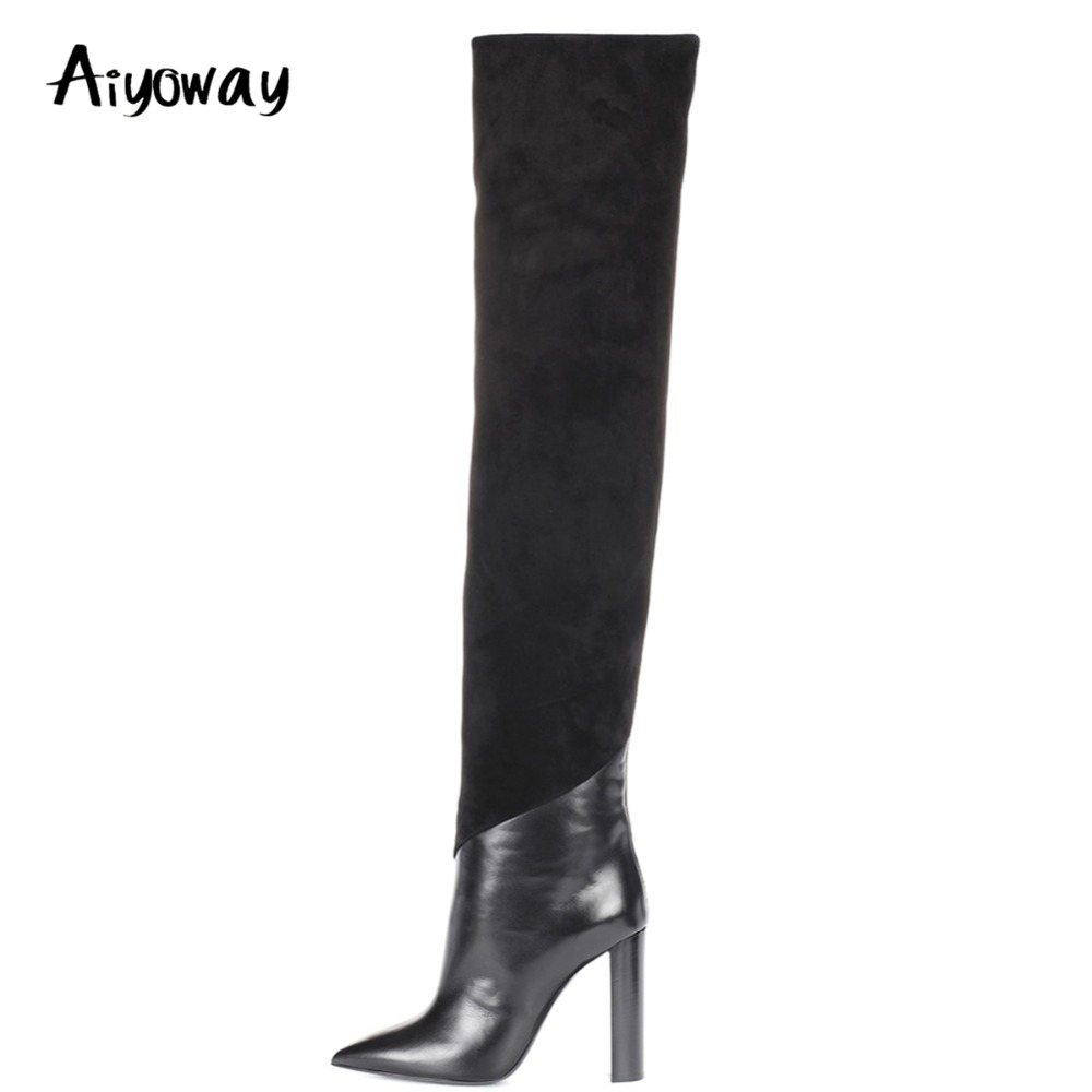 Aiyoway Новый стиль Для женщин женские острый носок ботфорты на высоком каблуке черные из искусственной замши и PU Лоскутные зимние пикантные д