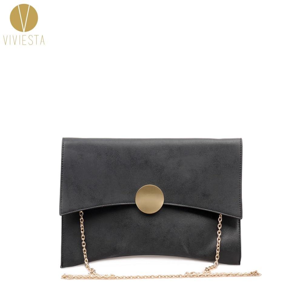 Chic Faux Leather Women Envelope Clutch Chain Purse Lady Evening Handbag
