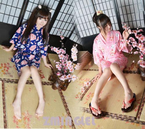 1ae699960 Super Cute Japanese Kimono Yukata Blouse + Shorts Kawaii Rabbit&Sakura  Patter Sleepwear Home Wear Cosplay Free Size Pink&Blue