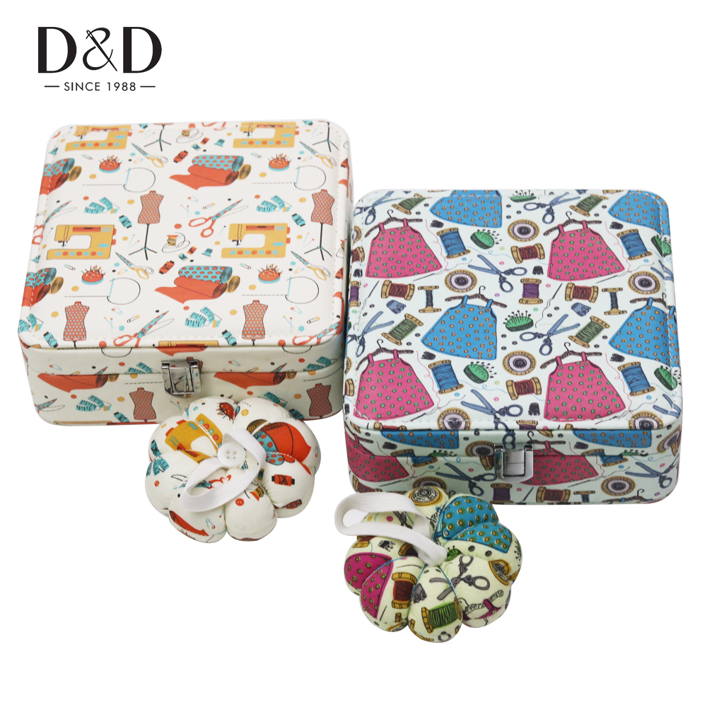 New Artificial Leather Storage Box Home Sewing Crafts Needle Thread Sewing Supplies Box Organizer 18*18*7cm