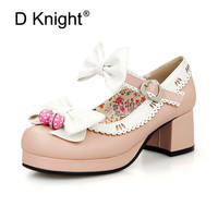 Hot Lolita Shoes Sweet Bow Women Pumps Chunky Heels Ankle Buckles Strap Princess Shoes Japanese Round Toe Platform Cosplay Shoes