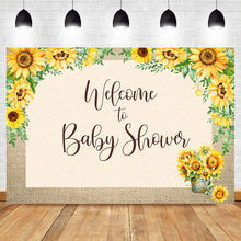 Neoback Welcome to Baby Shower Photography Backdrops Sunflower Fabric Vinyl Photo Backdrop Baby Shower Background Photography(China)