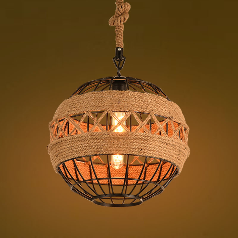Loft Retro Edison Industrial Hemp Rope Iron Round Ball Pendant Lamp Vintage Cafe Bar Coffee Shop Store Dining Room DroplightLoft Retro Edison Industrial Hemp Rope Iron Round Ball Pendant Lamp Vintage Cafe Bar Coffee Shop Store Dining Room Droplight