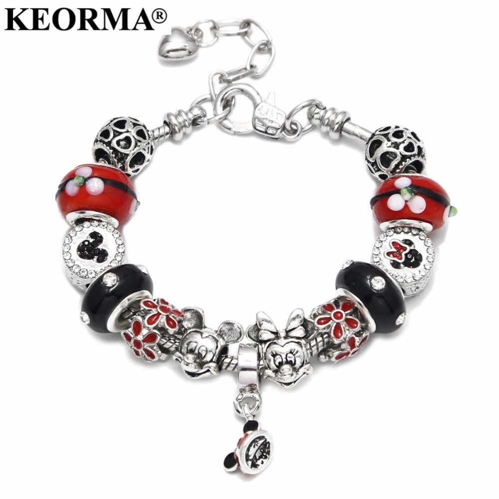 USA American Flag Ribbon Red White Blue Enamel Charm for European Bead Bracelets Fashion Jewelry for Women Man