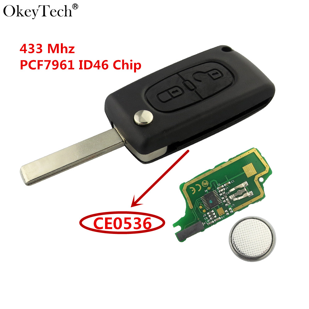 Okeytech 2 Button Remote Key With Groove Blade font b Battery b font 433 Mhz PCF7961