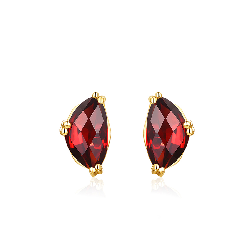 JXXGS Jewelry Hot Sale 14K Gold Garnet Luxury Earrings Gold Color Stud Earrings For Women