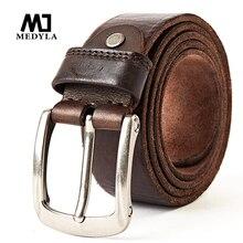 Cinturón de cuero de capa superior para hombre, cinturones informales, diseño hecho a mano Vintage, hebilla de Pin, cinturones de cuero genuino