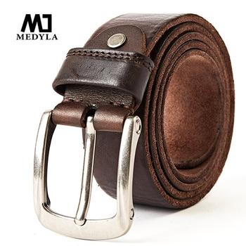 MEDYLA Men Belt Top Layer Leather Casual Belts Vintage Handmade Design Pin Buckle Genuine Male Waistband MD619