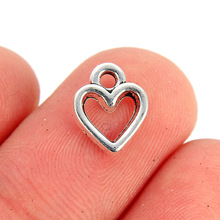 TJP 50pcs Antique Silver Tone Heart Charms Pendants Beads Hollow Open for DIY Bracelet Jewelry Making Findings 11x8mm