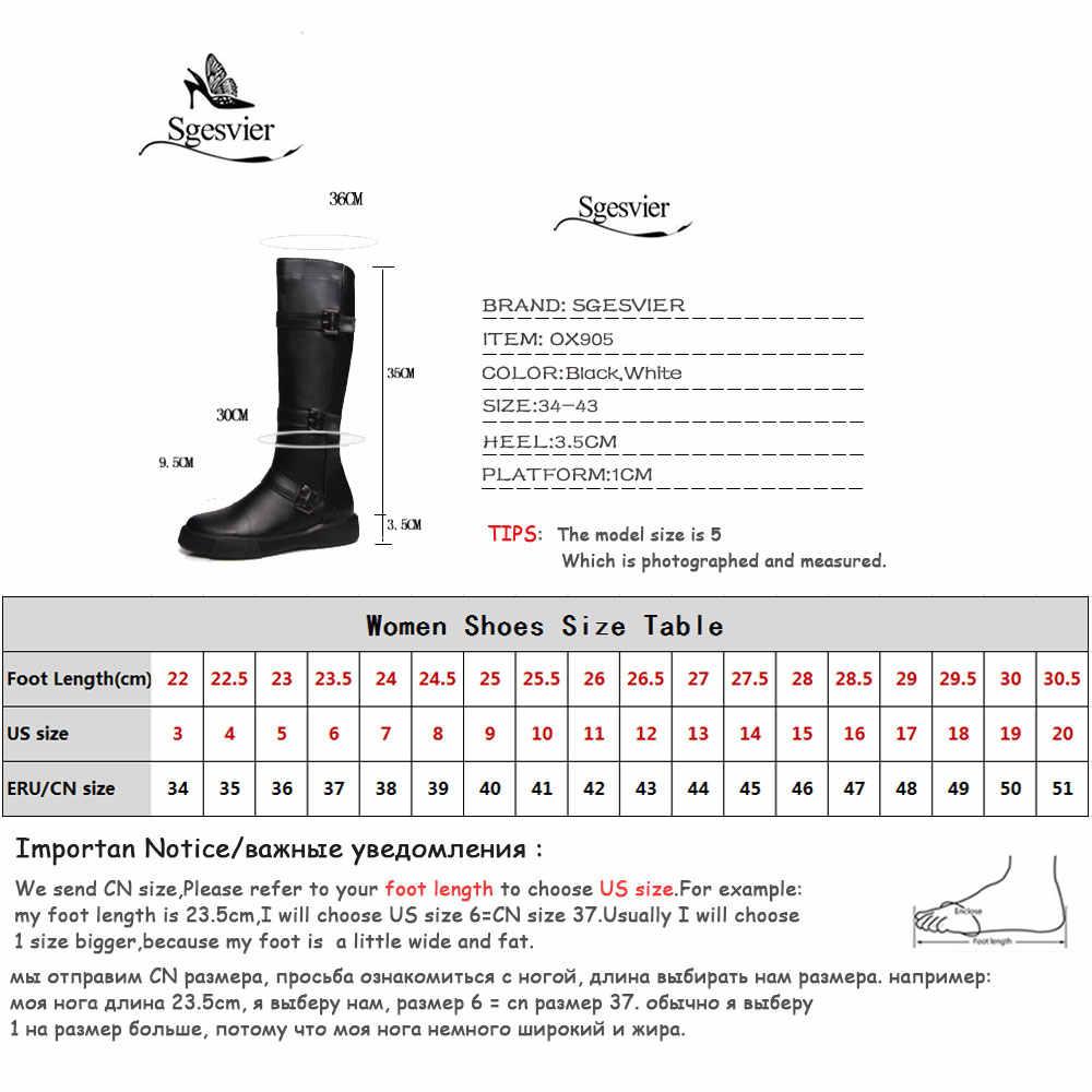 Sgesvier Kadın Diz Yüksek Çizmeler Seksi Düz Topuk PU deri ayakkabı Kış Bayanlar Siyah Beyaz Uyluk Yüksek Kar Botları Ayakkabı Kadın OX905