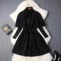 Women Dress Set 2018 Autumn Winter Women's New Bow Shawl Cape + Lace Turtleneck Black Short Dress Female S XL