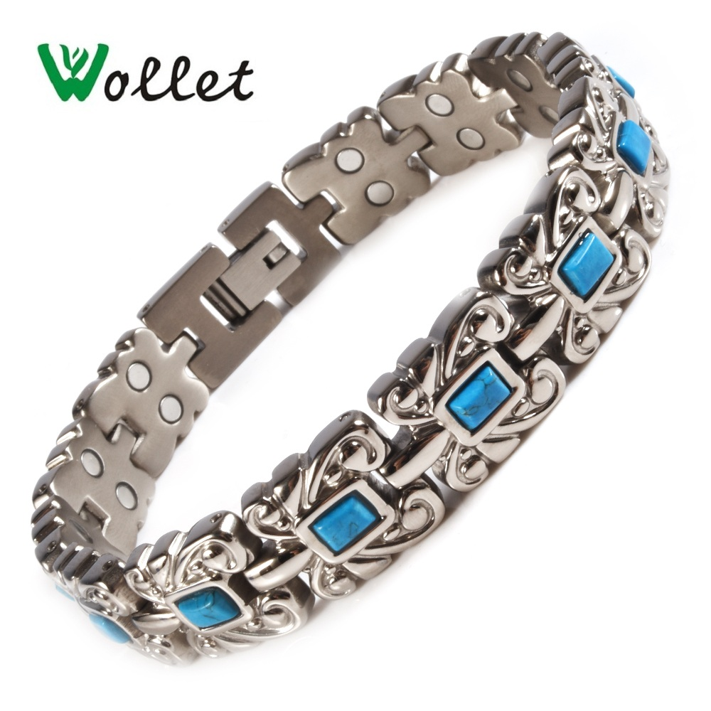 Wollet Jewelry Titanium Magnetic Bracelet For Women Men Turkish Stone 5 in 1 Germanium Negative Ion Tourmaline Magnets Infrared byriver healthcare black tourmaline stone health bracelet germanium negative ion energy hand chain for men women size 57 64mm