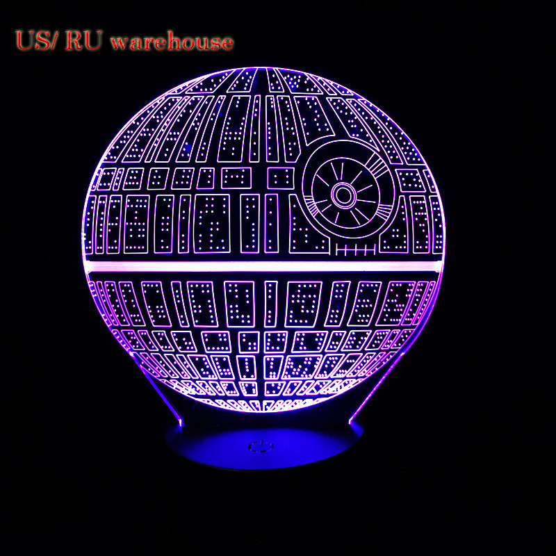 LED Light for home Bulb Ball Force Awakens Death Star Table Lamp 3D Death Star  Light Touch Switch Gifts Lamp for Star Wars Fans forceball spt al plastic wrist fingers arm training force ball w led light green black
