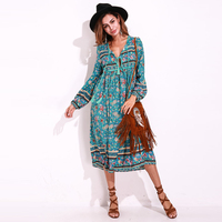 Boho Vintage Floral Print Chiffon Maxi Dresses Women Long Sleeve Tie V Neck Long Midi Dress