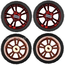 4PCS Wearable Rubber Wheels for TT Motor 65 * 27mm Rubber Wheel Tightly Fit with the motor for Arduino Smart Car Beautiful Rde