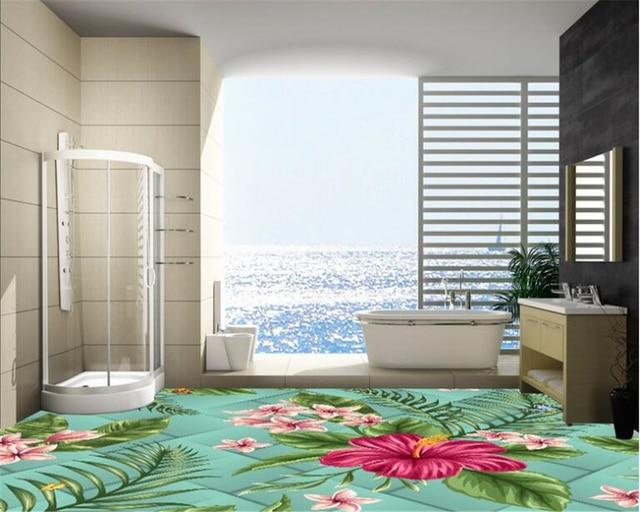 Beibehang Beautiful 3D Glass Flower Wallpaper Stylish Living Room Bedroom  Bathroom Floor Paint Papel De Parede