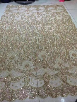 5yards/bag BZM008 champagne gold color hand  print glued glitter net mesh lace for sawing/lady dress