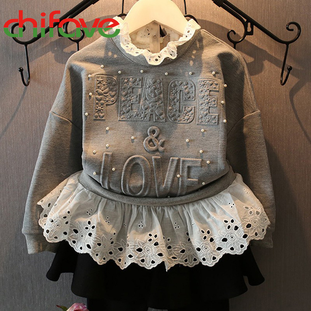 2016 Spring Autumn Girl Children Warm Turtleneck Collar Long Sleeve Hoodies Letter Pattern Pearl Decoration Sweatshirt for Girl