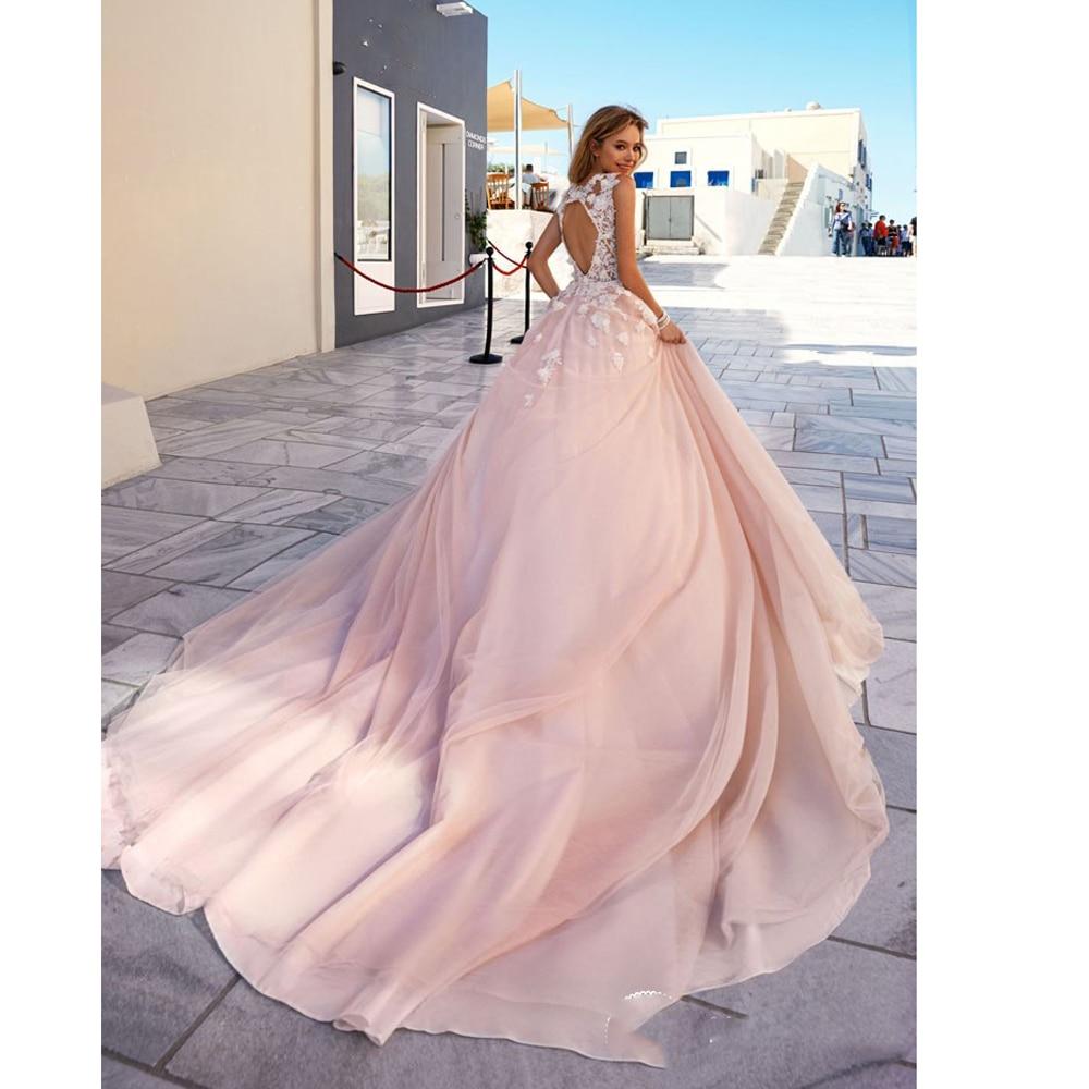 Boho Blush Pink Wedding Dresses 2017 Pretty 3D Flower Lace Bridal ...