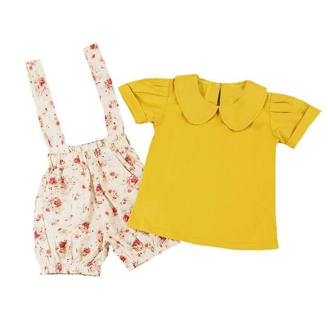 938cca5e6adb4 Retail Summer Girls Clothing Sets Short Sleeve Mustard Yellow Shirt+Overalls  Shorts Floral Kids Outfits Children Clothes E16208