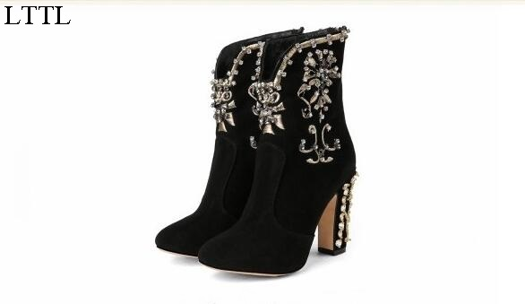 Fashion Elegant Women Shoes Solid Black Dress Crystal Floral Block High Heels Women Ankle Boots Zip Round Toe  Free Ship Size 11