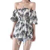 Fashion Summer Women Slash Neck Chiffon Blouses Boho Off Shoulder Floral Printed Shirts Blouses